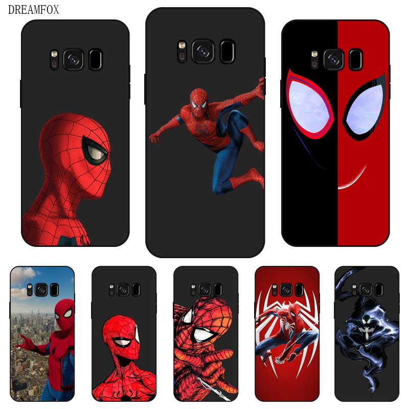 P200 Spiderman Black Silicone <font><b>Case</b></font> Cover For <font><b>Samsung</b></font> Galaxy S5 <font><b>S6</b></font> S7 S8 S9 S10 5G S10E Lite Edge Plus image