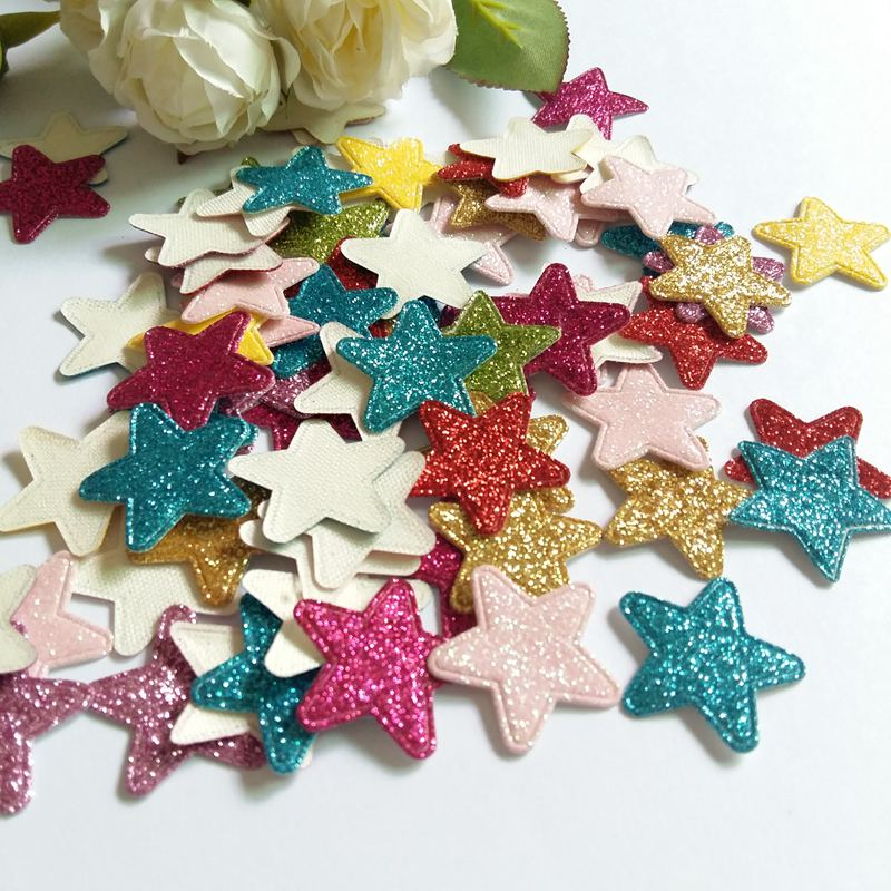 50pcs Colored Glitter Star applique flower patch for clothes hair accessories diy craft Wedding Christmas ornament decoration in Patches from Home Garden