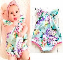 Kids Newborn Floral Printed Baby Romper ,Vintage Baby Girls playsuit ,Floral printes Baby Rompers baby girl Tassel clothes