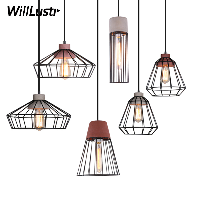 Willlustr cement pendant lamp concrete suspension light iron cage frame hotel restaurant hanging lighting dinning room bedside hand made wool felt hat aluminum suspension lamp cap jeeves and wooster pendant light hanging lighting dinning hall couture