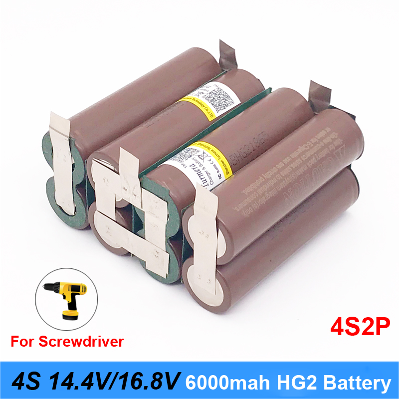 3S 18650 hg2 3000mAh 20amps for 14.4v 16.8v screwdriver battery weld soldering strip 4S 4S2P 16.8v battery pack (customize) DE27