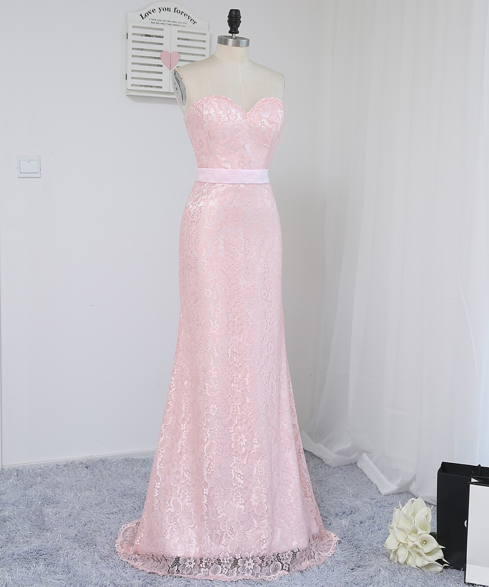 Us 58 5 10 Off Hvvlf 2019 Cheap Bridesmaid Dresses Under 50 Mermaid Sweetheart Floor Length Pink Sash Lace Wedding Party Dresses In Bridesmaid