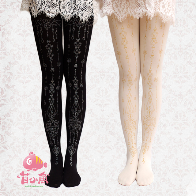 Princess sweet lolita pantyhose Original pendant rose LOLITA printing velvet pantyhose LWK111