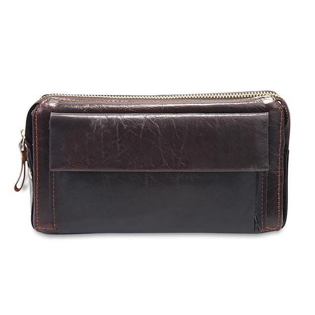 Los Hombres de cuero Cartera de Mano de Gran Capacidad de Cuero Genuino Money Clip Wallet Hombres caja de Tarjeta