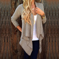 spring nice two tone knit sweater with cascading front hem women's unlined flat knitted cardigans female fashion ruffled pull