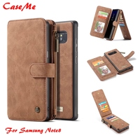 CaseMe Phone Case For Samsung Galaxy Note 8 Genuine Leather Zipper Multifunction Wallet 2 In1 Design