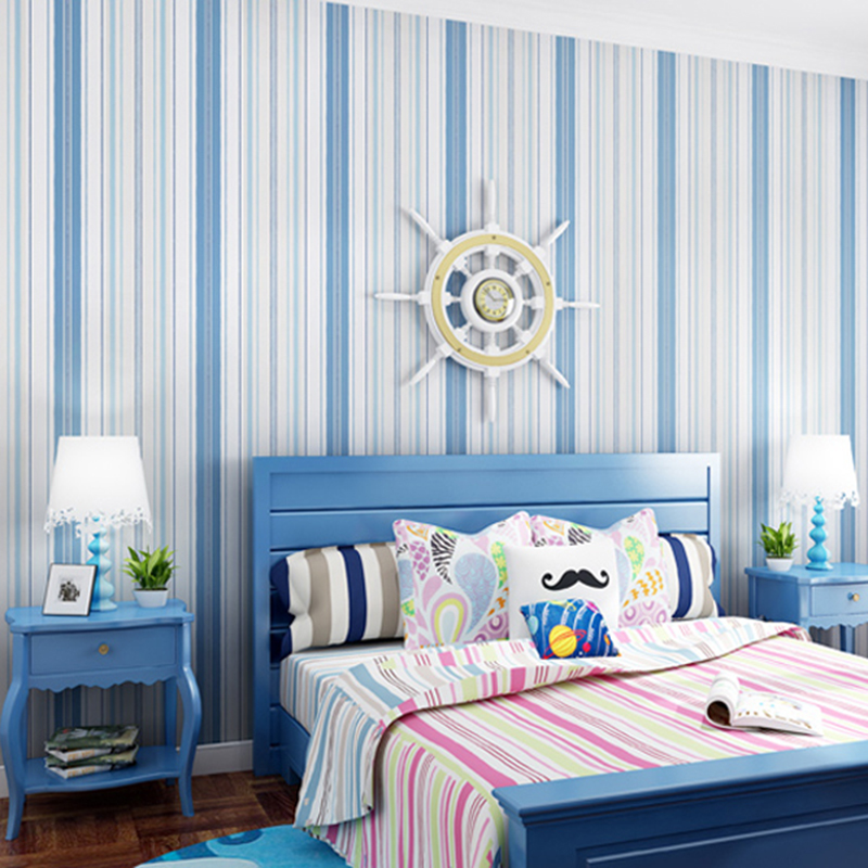 US $18.53 18% OFF|PVC Wallpaper Modern Blue Pink Stripe Wall Sticker  Children\'s Bedroom Home Decor Wall Covering Self Adhesive Waterproof  Stickers-in ...
