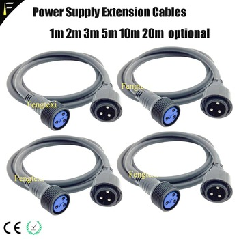 4pcs/lot Outdoor 2m3m5m10m Power Cable Stage Lights Device Powercord IP65 Power Extension Cables 3Pin Waterproof