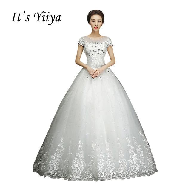Free shipping YiiYa 2016 White Wedding Dresses Bride Princess Ball ...