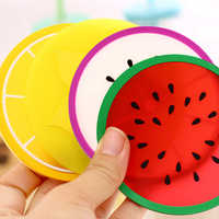 Fruit Forma Coaster Do Copo Do Silicone quente Pad Deslizamento Pad Isolamento Almofada da Esteira do Copo Suporte da Bebida Quente
