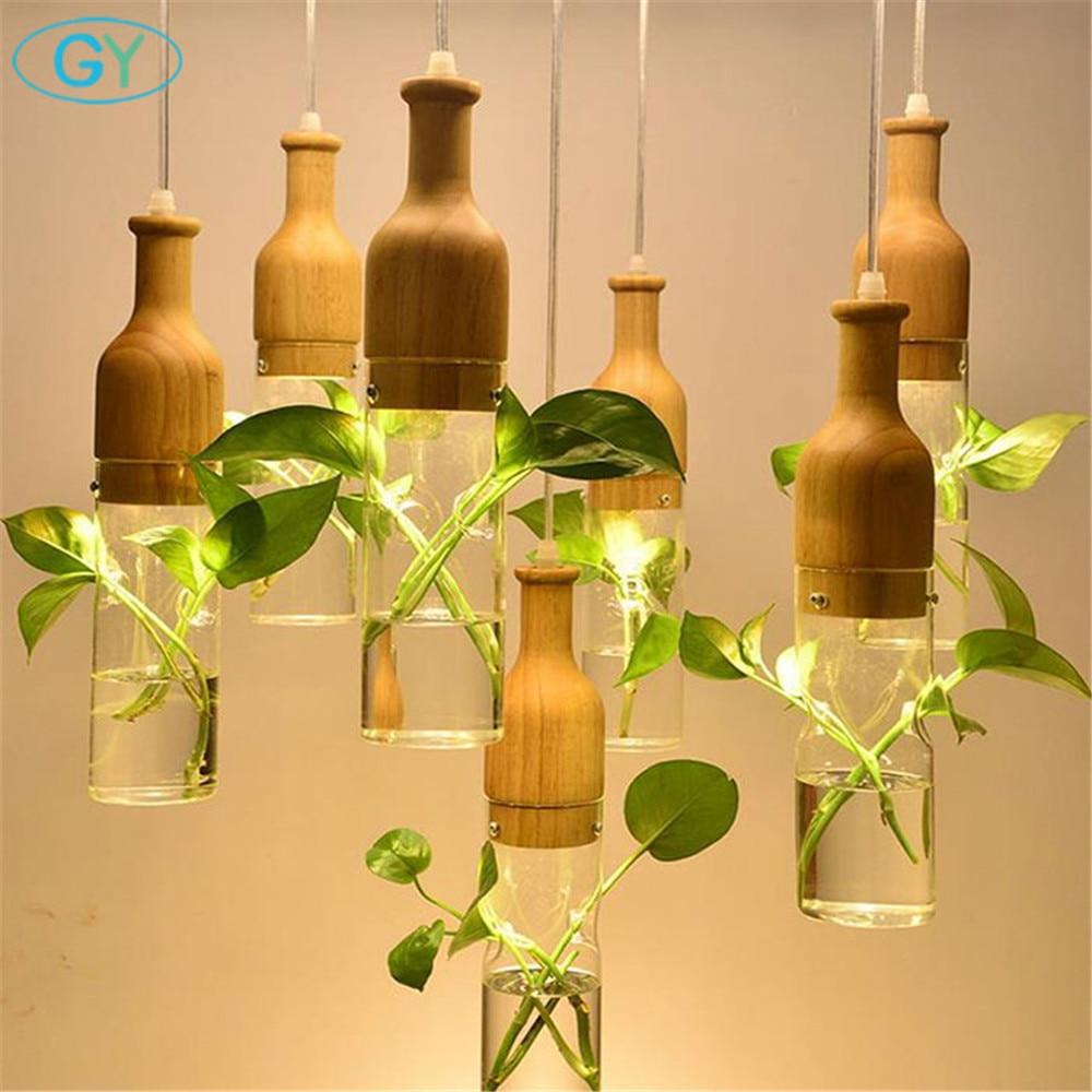 Modern LED Plant Pendant Lights Wood Glass Bottle Lustres Luminaire Industrial E27 220v Decor Hanging Lamp
