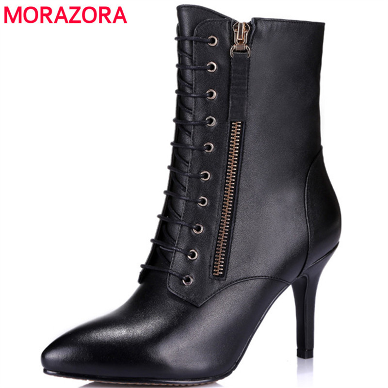MORAZORA Thin heels shoes cow leather top quality ankle boots for women in spring autumn fashion womens boots big size 34-43 morazora fashion punk shoes woman tassel flock zipper thin heels shoes ankle boots for women large size boots 34 43