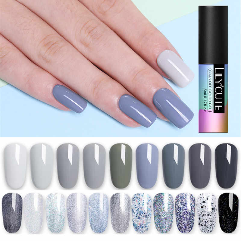 LILYCUTE 5ml Grey Brown Coffee Color Gel Polish Soak Off UV Pure Nail Color Gel Polish Lacquer Long Lasting Nail Art Gel Varnish
