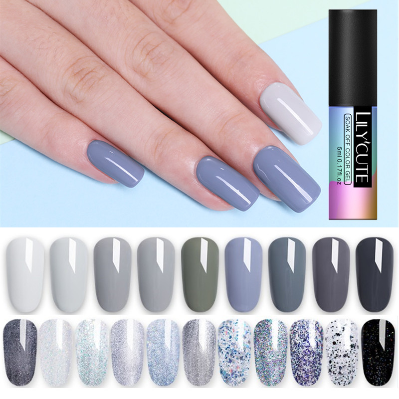 Lilycute 5ml Grey Brown Coffee Color Gel Polish Soak Off Uv Pure Nail Color Gel Polish Lacquer Long Lasting Nail Art Gel Varnish Buy At The Price Of 0 59 In Aliexpress Com