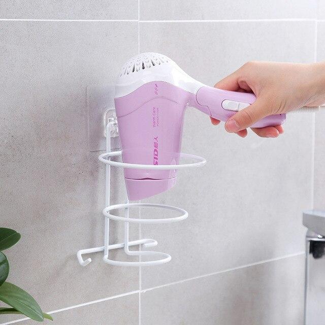 Bathroom Hair Dryer Storage Rack Free Punch Wrought Iron Wall-mounted Storage Rack Bath Supplies Racks Creative Household Items