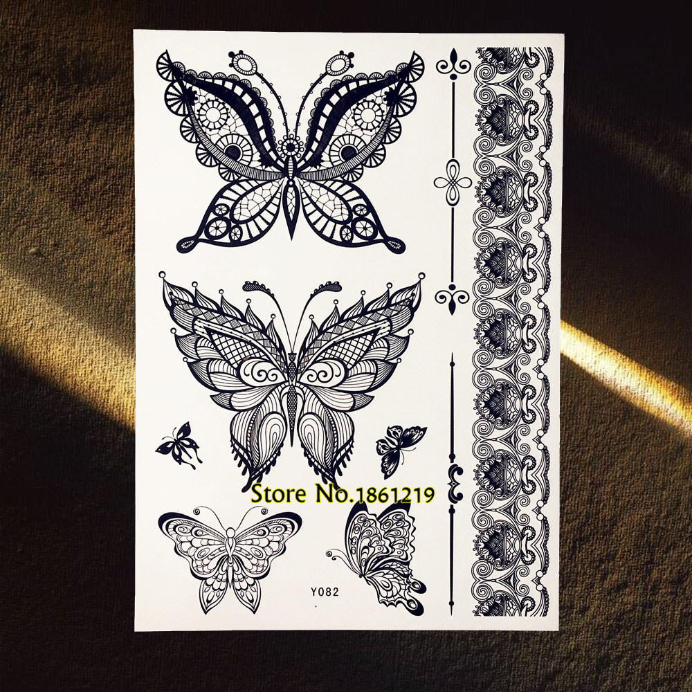 Inflicting Ink Tattoo Henna Themed Tattoos: Beauty Fashion Henna Butterfly Temporary Tattoo Black Ink