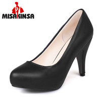 MISAKINSA Size 34 43 Office Lady High Heel Shoes Women Round Toe Inside Platform S Heels Pumps Sexy Party Club Women Footwear