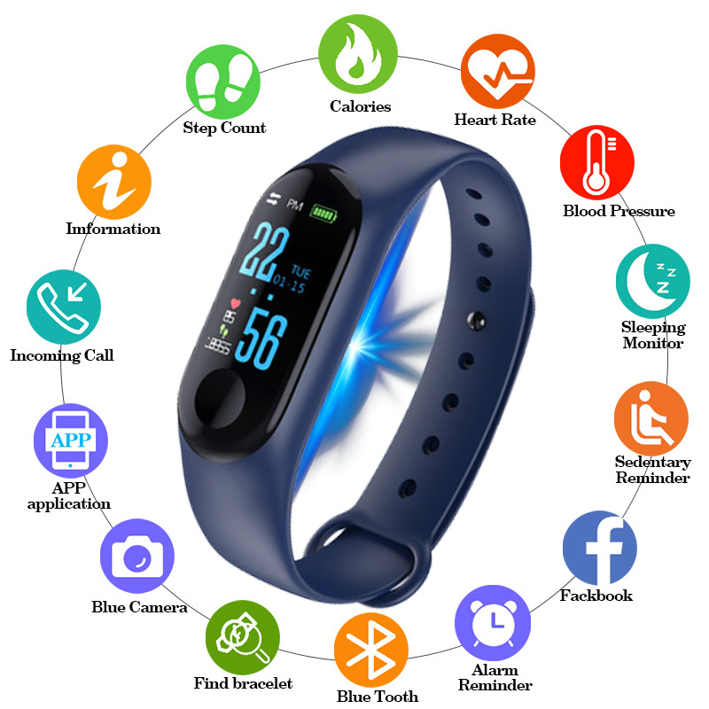2019 Smart Watch Men Women Sport Bracelet Bluetooth Clock Camera Heart Rate Blood Pressure Sleep Monitor Pedometer Band PK M3