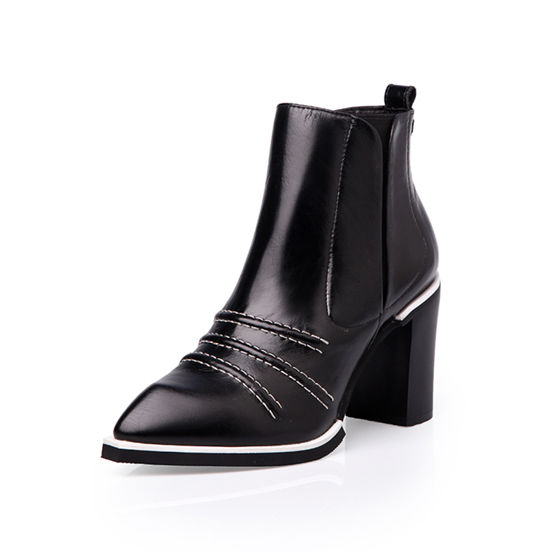Women Genuine Leather Pointed Toe Ankle Boots New Arrival Real Leather Fashion Square Heels Spring And Autumn Lady Boots 0205 only true love new arrival genuine leather women fashion flat heels equestrian snow boots round toe women boots