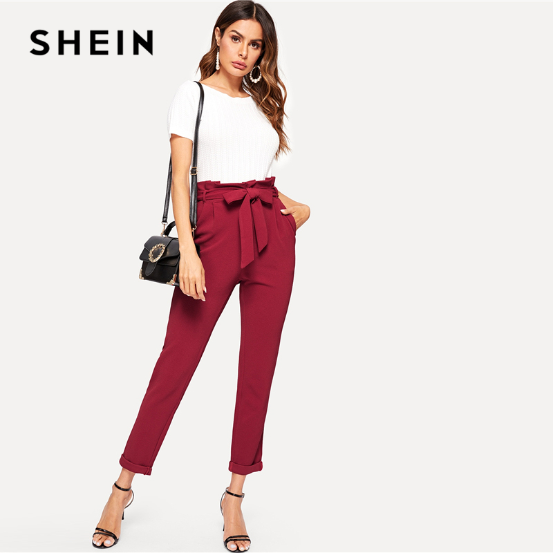 8e250fe1d747 [Best Choice] SHEIN Burgundy Paperbag Waist Textured Pants Women Belted Trousers  Office Lady 2019 Spring Elegant Workwear Solid Pencil Pants ...