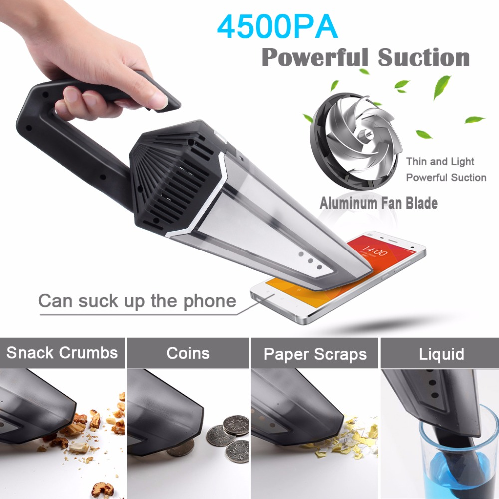 Vacuum Cleaner for Car Home Office 4500PA Suction Cordless Rechargeable Car Vacuum Cleaner Dust Remover Wet