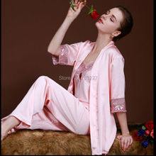 2016 new spring autumn elegant women silk satin 3 piece sleep suit 3pcs pajama set sleepwear women lounge pyjama women nightwear