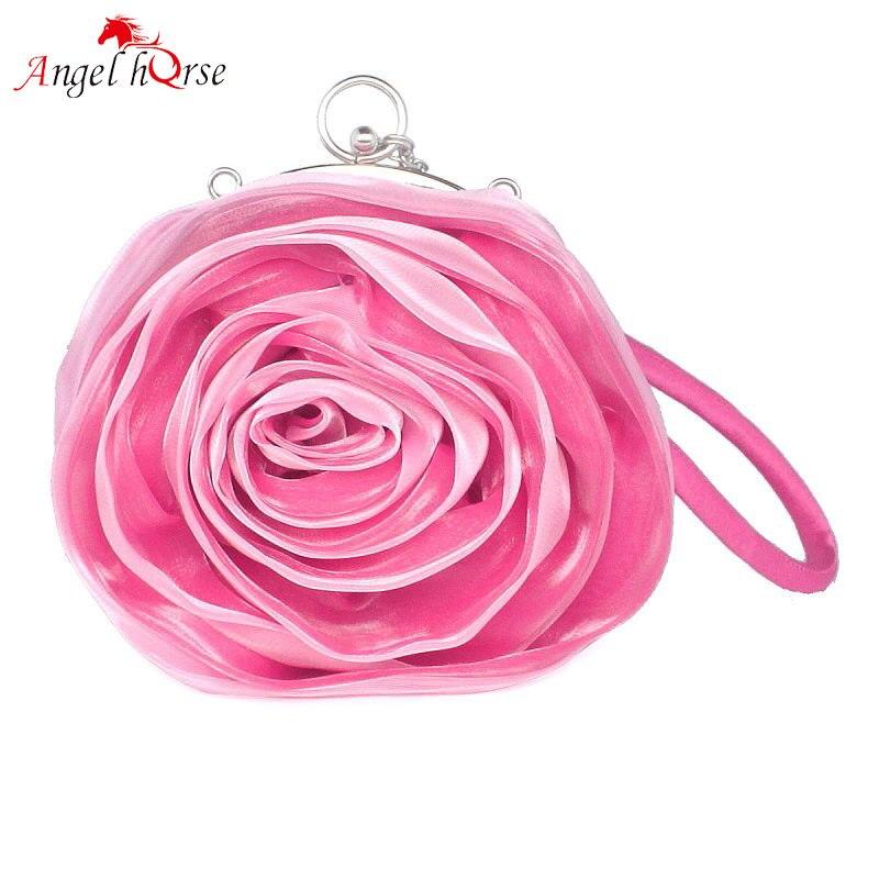 Angel Horse Women Luxury Bags Rose Flower Lace Womens Bags Handbags Silk Metal Mini Ladies Luxury Hand Bag Chain Handle Bags
