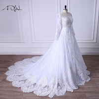 ADLN 2018 Luxury Long Sleeve Wedding Dresses Vintage Robe De Mariage Special Lace Design Customized Long Train Bridal Gown