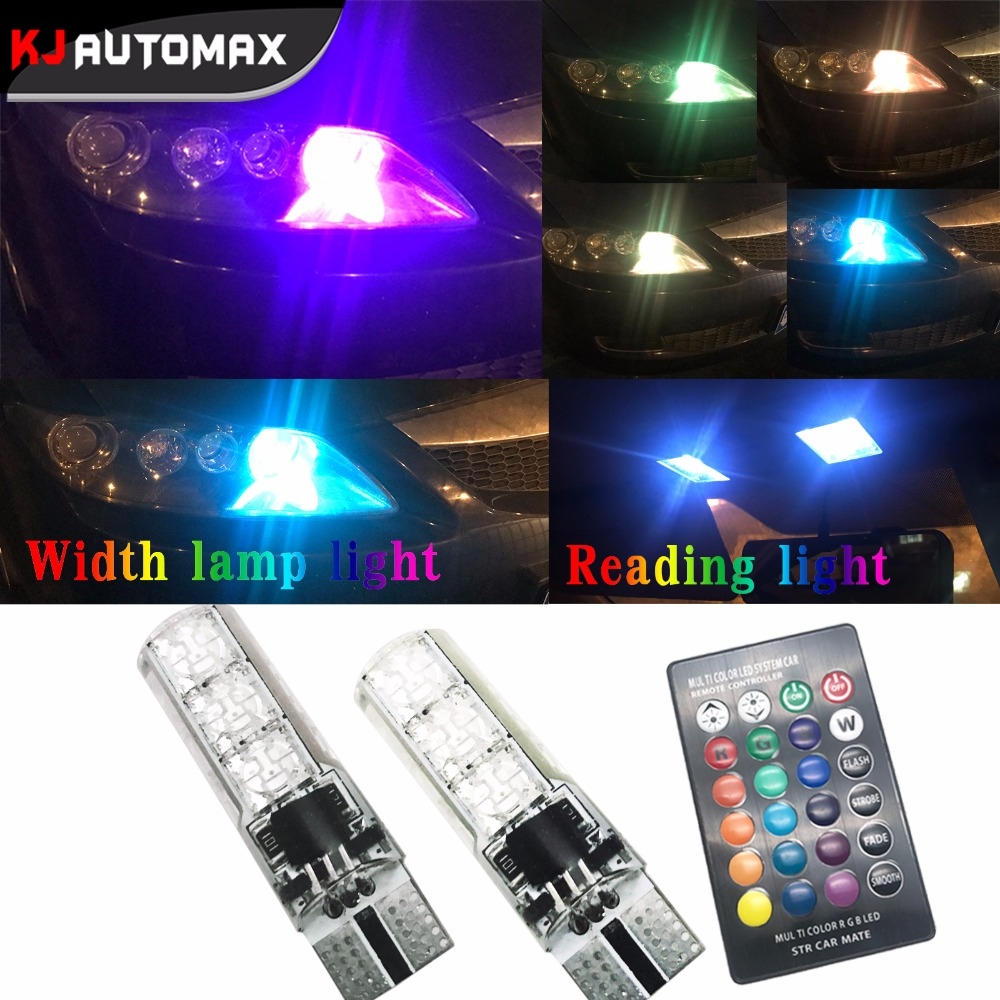 1 Set Colorful Car RGB LED Light Position Reading T10 LED w5w Automotive LED Bulb Flash Strobe Fade Smooth Mode DRL or Reading