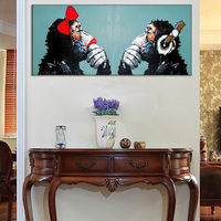 Hand Painted Modern Couples Orangutans Picture Canvas Wall Art Monkey Gift Painting Room Hang Paintings Abstract