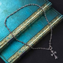 Solid 925 Sterling Silver Long Necklace Women men Antique Punk Sweater Chain With Cross Pendants couple necklace Christmas Gifts