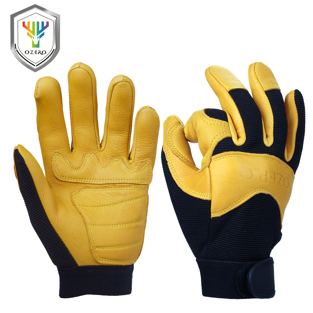 Deer hide leather work gloves - Ozero Deerskin Men S Garden Work Driver Gloves Leather Security Protection Wear Safety Workers Working Racing Sport