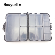 11 grid 12*10*3.5cm fishing accessories Black plastic fishing tackle box Double sided removable fishing box tackle storage boxes
