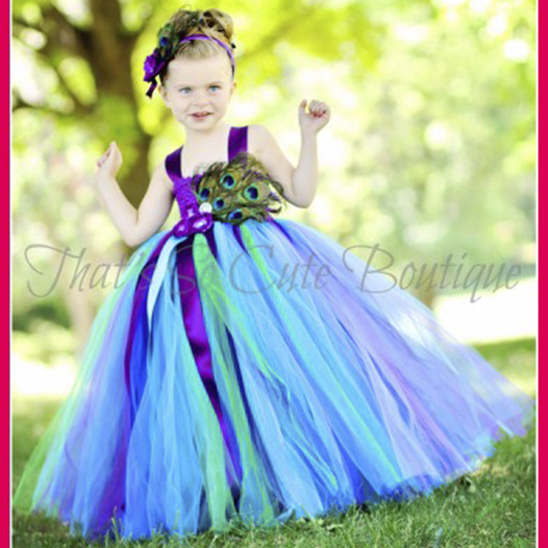 Girl Peacock Carnival Dress Flower Girl Dress Baby Kids Birthday Party Pageant Tutu Dress with Peacock Feather Headband Vestidos girl peacock carnival dress flower girl