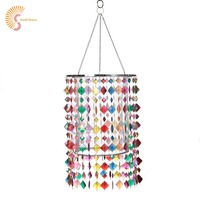 E27 Colorful kids Lampshade for Chandelier Light Acrylic Beads Lamp Shade with Chrome Sliver Iron Frame for girl Room Decoration
