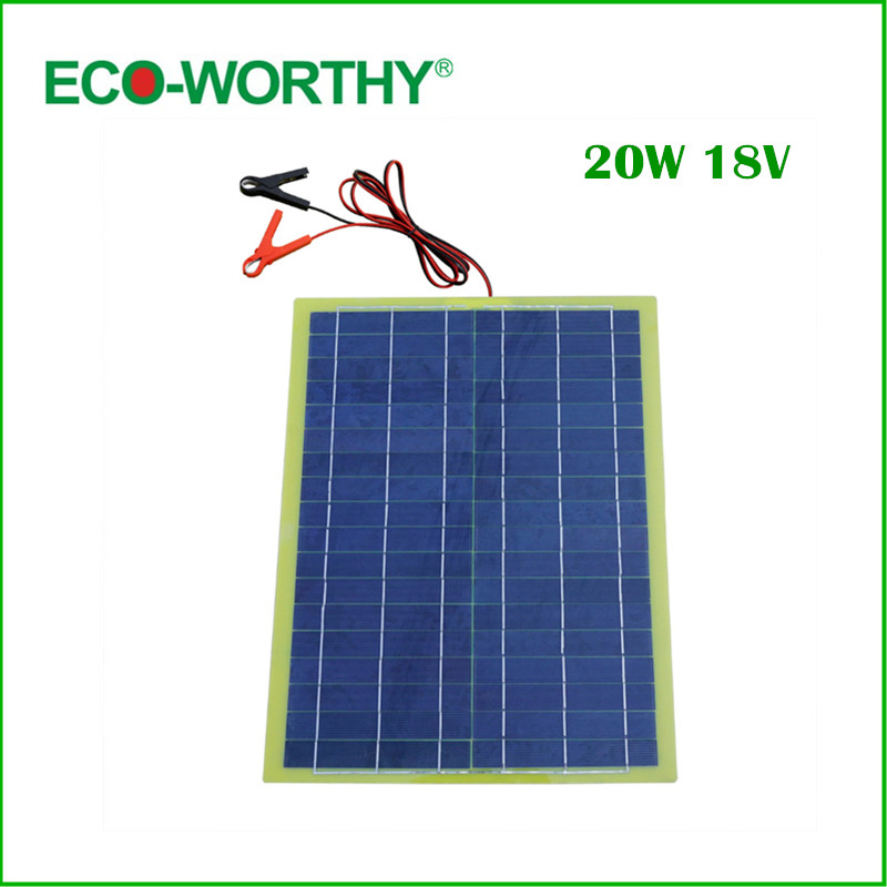 Eco-Worthy 20W Epoxy Solar Panel High Efficiency for 12V Battery Charger solar Charger solar Panel