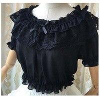 Mori Girl Doll Bowknot Lolita Puff Sleeve Tops Sweet Blouse Princess Cosplay New Women Shirt