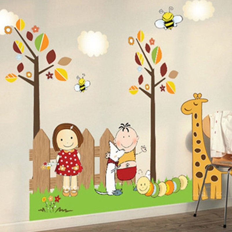 US $6.02 41% OFF|Children\'s room layout baby wall stickers boys and girls  baby bedroom bedside wall decoration kindergarten cartoon stickers-in Wall  ...