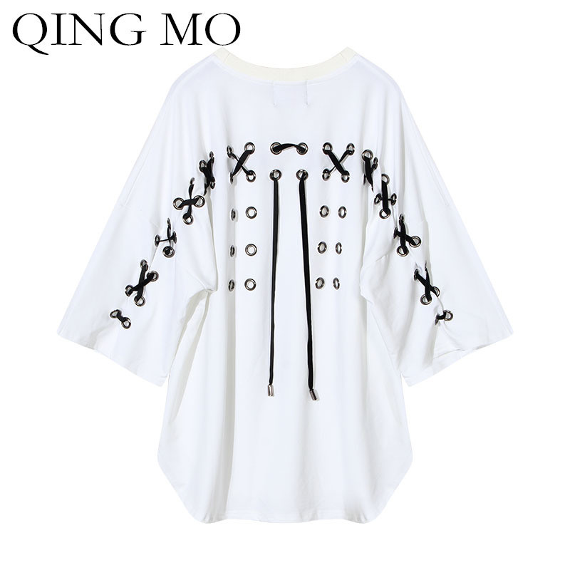 QING MO Half Sleeve Shirt Women Summer Tops 2018 New Lace-up Plus Size Shirt Casual Black T Shirt Loose Tops & Tees ADQ104