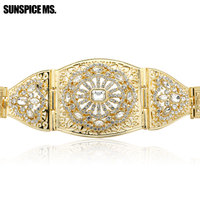 Fashion Gothic Women Big Hollow Out Metal Waist Chain Belt Gold Color Body Jewelry Flower Gem Inlay Indian Party Belly Chain