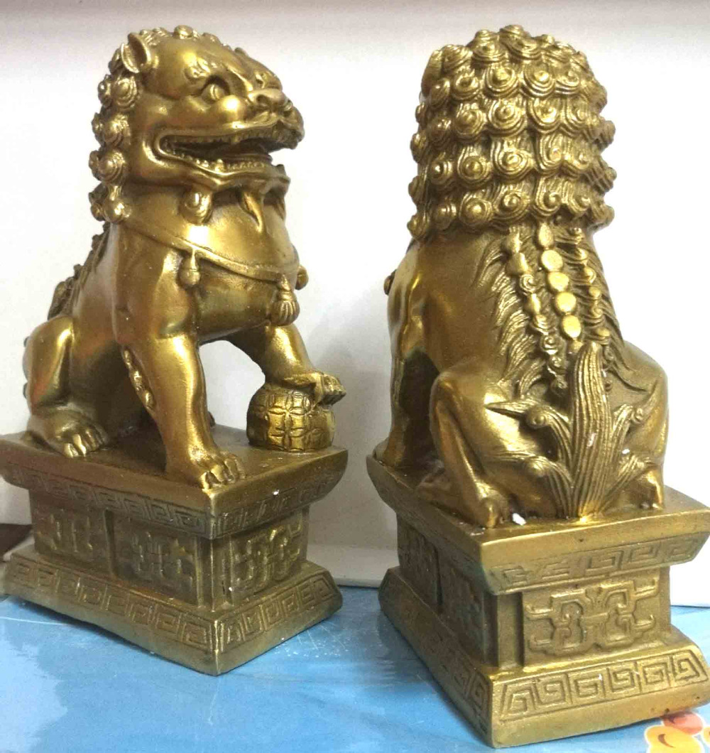 Us 41 66 55 Off Chinese Foo Dog Lion Fu Bronze Statue Pair Figurines Feng Shui Items Oriental In Statues Sculptures From Home Garden On