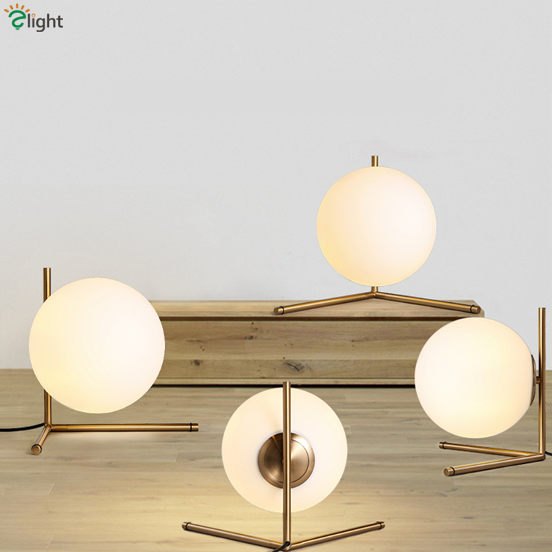 Nordic Minimalism Frosted Glass Ball Led Table Lamp Novelty Triangle Design  Bedroom Plate Metal Bedroom Led