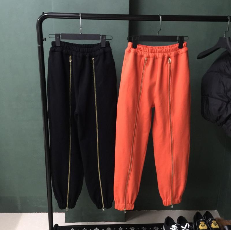 2018 Lana Suelta Nueva Larga Decoración Mujer De Cremallera Casuales Gruesa blanco Cerrada Primavera Nuevos Llegada Algodón Más naranja Boca Pantalones Negro 1Fq0Y