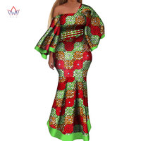 2019 New african dresses for women bazin riche style femme african clothes graceful lady print wax plus size party dress WY4044