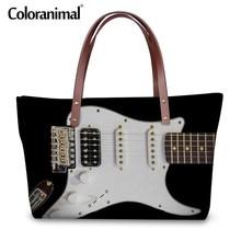 7c2c6c101a72 Coloranimal ноты Для женщин Повседневное сумки бренда Дизайн роскошные  женские большой Ёмкость шоппер Винтаж 3D гитара печати су.