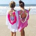 Verano de las mujeres Vestidos de 2017 Sexy Sin Respaldo de Las Borlas de la Mujer Beach Sexy Vestido de Pareo Beach Cover Up Beachwear Bikini Cubre Playa Túnica