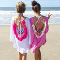 Women Summer Dresses 2017 Sexy Backless Tassels Beach Cover Up Beachwear Woman Beach Dress Sexy Pareo Bikini Covers Beach Tunic