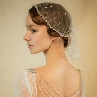 Ivory Birdcage Veil, Crystal Veil, Wedding Veil, Rhinestone Blusher Veil