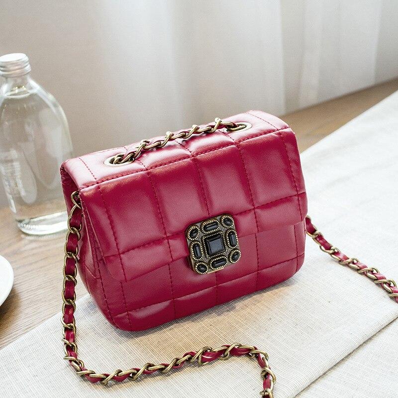 ФОТО Lady Classic Lock Bag Autumn New Korean Fashion Plum Lock Car Suture Lattice Chain Shoulder Bag
