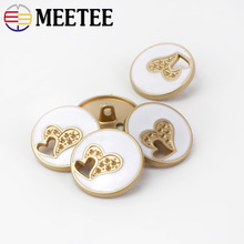 Meetee 10pcs 23mm Heart Hollow Gold White Oil Metal Buttons DIY Clothing Foot Fashion Craft Decoration Sewing Buckle BD292